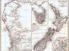 Landkarte NEUSEELAND 🇳🇿🥝🇳🇿 New Zealand Christchurch Perth Shark´s Bay 1872