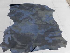 lambskin sheepskin leather hide Dk Blue Double Sided Camo Print 3 oz full bodied