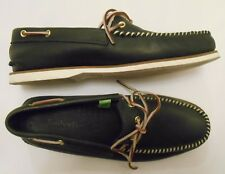 TIMBERLAND Men's Black Leather boat shoes loafers Non mark soles Size 12 M EUC