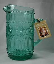 New PIONEER WOMAN Large TURQUOISE Glass Pitcher Handle 54 oz. Adeline Pattern