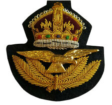 Gold Wire RAF Officers Cap Kings Crown 2WW Pattn Badge 7.4cm x 6.7cm