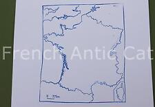 Ancien tampon scolaire métal géographie France Côtes Frontières 19*14 cm AA045