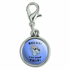 Relax I've Goat This Got Funny Humor Antiqued Bracelet Charm with Lobster Clasp