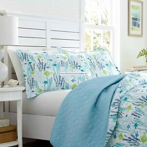 LAURA ASHLEY 3pc FULL/QUEEN QUILT Seaweed Fish Beach Ocean Blue Aqua Turquoise