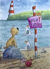 ACEO Contemporary Original Modern Watercolour Painting Beach~Dog~Bee~Mouse~Snail