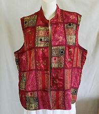 COLDWATER CREEK Womens Vest 3X Multi-color Patchwork Frog Toggle Button