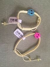 Skull & Braided Yarn Adjustable Friendship Bracelet Lot Of (2)
