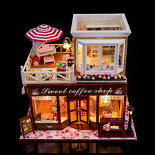 Sweet Coffee Shop Doll House DIY Wooden Dollhouse Assembled Furniture Xmas Gift