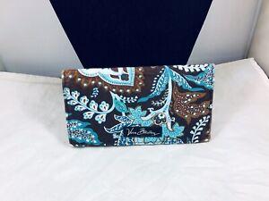 PRETTY VERA BRADLEY TEAL BLUE & BROWN CLOTH WALLET & CARD HOLDER