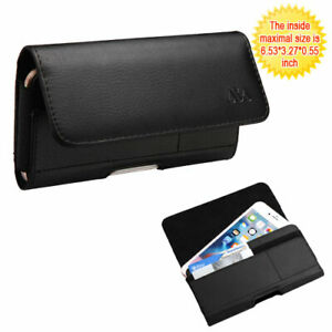 Black Premium Leather Case Clip Horizontal Pouch for TCL A1