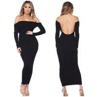 Black Off Shoulder Open Low Back Knit Sweater Long Sleeve Maxi Dress S M L