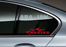 RACING Flag Decal Sticker Sport Car Window logo Performance Motorsport PAIR