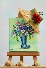 Original Acrylic Miniature on Canvas Painting Easel included Flowers in Boots