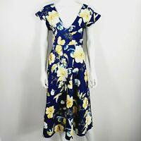 Boohoo Navy Blue & Yellow Floral Dress UK 10 V Neck Short Sleeve