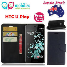 Black Mooncase Stand TPU in Wallet Case Cover For HTC U Play + Screen Protector