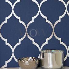 Découpage Papier Peint Géométrique Bleu Nuit / Argent - Rasch 701647 Metalique