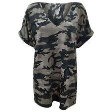 Women Ladies Printed V Neck Turn up Short Sleeve Loose Baggy Fit Top Shirt Leopard Print XXL 20-22
