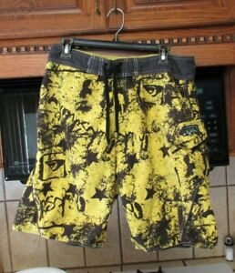Quiksilver 1990's vintage surf trunks board shorts  Men's 34 waist Wild Yellow