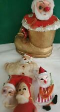 Antique Christmas Santa Ornaments Lot as is