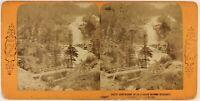 Francia Cascade Del Pont Spagna Foto Andrieu c1868 Stereo Vintage Albumina