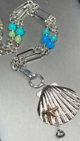 """Vintage Silver  Tone Blue Green Beaded Shell Starfish Long 34"""" Sweater Necklace"""