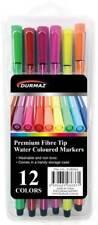 Premium Fibre Tip Water Coloured Markers Assorted Colours Pk 12 Art Craft Pen