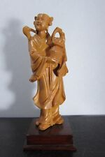 Large Antique Chinese Fine Carved Hardwood Female Figure On Stand, 20th Century