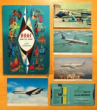 BOAC AIRLINES Lot Currency Conversion Guide Route Map 4 Postcards 1950's 1960's