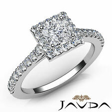 U Shape Prong Set Princess Diamond Engagement Ring GIA E SI1 18k White Gold 1Ct