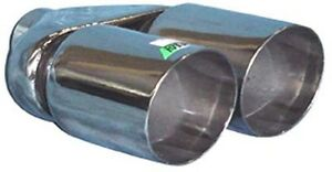 """TWIN 3"""" Exhaust Tip Stainless Steel Double Skin, Angle Cut, 2.25"""" Inlet(A01-039)"""
