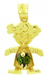 Yellow Gold May Birthstone Emerald Green Heart CZ Baby Girl Charm Pendant