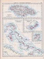 1894 Victoriano Mapa ~ Jamaica Bahamas Trinidad Bermudas Islas