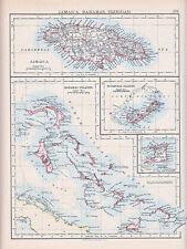 1894 VICTORIAN MAP ~ JAMAICA BAHAMAS TRINIDAD BERMUDAS ISLANDS