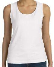 Ladies Tank Top White Shirt -  Thick Strap - LAT - Cotton - Blank - Sm - 2X