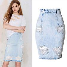 Fashion Womens Celeb Ripped Frayed Stretch Bodycon High Waisted Jean Denim Skirt