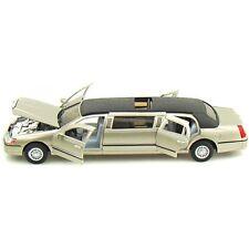 Kinsmart 1999 Lincoln Town car Stretch Limousine Diecast metal model car (Gold)