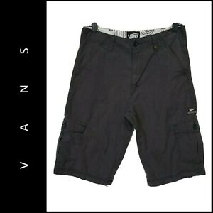 VANS Boys Casual Outdoor Plaid & Check Flat Front Cargo Shorts Gray Size 18