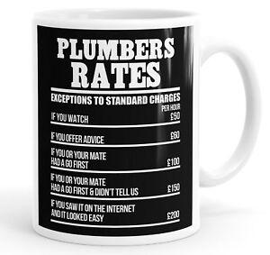 Plumbers Rates Funny Slogan Mug Tea Cup Coffee