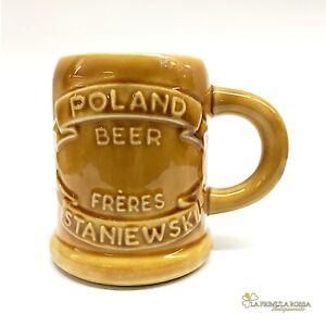 Boccale da birra in ceramica polacco vintage con bicchiere collezione portapenne