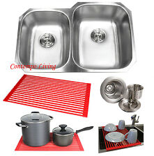 "32"" Stainless Steel Double 40/60 Bowl 18 Gauge Undermount Kitchen Sink Dish Rack"