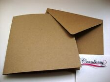 50 x Square Creased Kraft Cards & Envelopes Christmas Wedding Craft by Cranberry