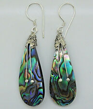 Abalone Paua Shell Pear Drop Dangle Hook Earrings in 925 Sterling Silver