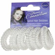 CLEAR SPIRAL HAIR BOBBLES Girls Baby Ponytail Invisible Bobble School Bands UK