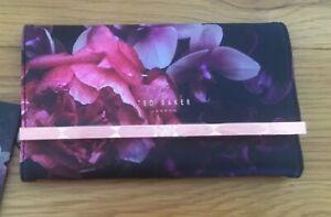 Ted Baker New Black Floral Splendour Print Luxury Jewellery Roll Storage