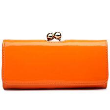 Women Designer PU Patent Leather Clutch Matinee Purse Ball Clasp