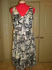 COLDWATER CREEK PLEATED  BLACK & WHITE PRINTED WEAR TO WORK DRESS -8