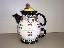 Mary Engelbreit 'Oh So Breit' Cherries Ceramic Teapot & Cup Tea for One 3 Pc Set