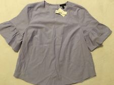 NWT JCREW Button-back bell-sleeve top Size14 In Peri Blue G2264 SOLDOUT!!
