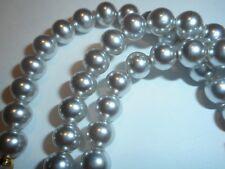 "HOBE Vintage 5mm Genuine Gray Majorca Pearl 30"" Necklace Mint w/ Label unused"