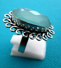 925 Silver Plated Ring Set With Blue Onyx Size O  US 7.25  (rg2282)